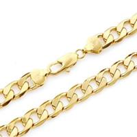 Forme 24K 24ct oro amarillo lleno unisex collar largo 10 mm de ancho encintado cadena de eslabones 23.6inches