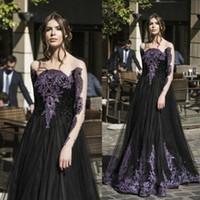 Unique gothique noir printemps robes de bal vente manches longues cristal violet perles une ligne tulle longue soirée robe de soirée pour les dames