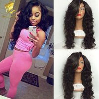 130% hair density side bangs wavy full lace wigs Malaysian H...