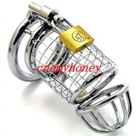 new male bondage lockable stainless steel cock cage penis ri...