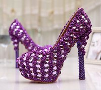 Large Size 11 Gorgeous Purple Crystal Platform Heels Pumps W...