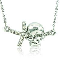 Nova marca colar de pingente de moda strass branco crânio cruz encantos de prata banhado a colar para homens jóias