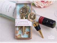 50pcs lot wedding favors gifts vintage bronze compass Wine B...
