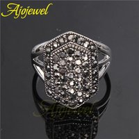 010 Vintage Retro White Gold Women' s Black Ring With Rh...