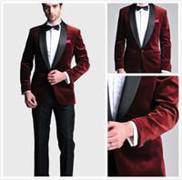 Burgundy Velvet Slim Fit Smokings Costumes de mariage costumes sur mesure garçons d'honneur Costumes de bal homme Man Pantalon noir (veste + pantalon + nœud papillon + Hanky)