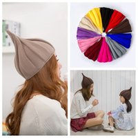 Solid Color Knitted Hats Twill Tall Adults Flower Cap Keep W...