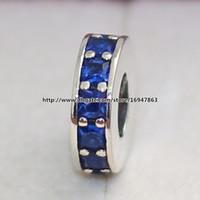 2015 Nova Eternidade Spacer Charme S925 Sterling Silver Bead com Azul Cz Se Encaixa Pandora Europeu Jóias Pulseiras Colares Pingente