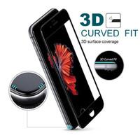Vidrio templado 3D HD Película protectora suave para iPhone X 6 6s 7 8 Plus Protector de pantalla de fibra de carbono de cubierta completa Epacket libre