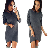 Mulheres Casual Solid Color Kleid Warm Winter O-Neck Long Steeve Sweater Organizer Slim Long Shirt Tops RF0629