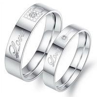 Anéis de Aço Inoxidável Casal OPK Jóias Coreano bloqueio / chave dele e dela promessa conjuntos de anéis 316L Amante Anéis