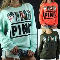New tide long sleeve pink letter hoodies for women autumn fa...