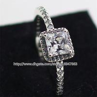 100% S925 Sterling Silber European Pandora Style Schmuck zeitlose Eleganz Ring mit klaren Cz Fashion Charm Ring