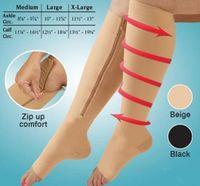 Zip Sox Zip-Up Reißverschluss Compression Kniestrümpfe Unterstützt Strümpfe Bein Offene Zehe Hot Shaper Schwarz und Beige von DHL
