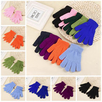 Solid Color Winter Gloves Knitted Warm Full Finger Mittens C...