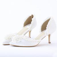 أشار تو فستان الزفاف أحذية منتصف كعب الدانتيل الأبيض الساتان النساء أحذية أنيقة جميلة حفلة موسيقية أحذية للعروس وصيفه الشرف