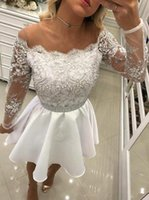 Abiti da cerimonia corti bianchi 2019 Nuove perle di lusso in rilievo Stile vintage Manica lunga Pizzo Abiti da cocktail formale Abiti da ballo H66