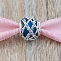 Autentyczne 925 Sterling Silver Beads Royal Blue Galaxy Charms pasuje do European Pandora Styl Bransoletki Biżuteria Naszyjnik 796361NCB