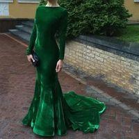 2017 Eleganckie Długie Rękaw Suknie Wieczorowe Velvet Emerald Green Prom Suknia Mermaid Custom Made Party Dress Darmowa Wysyłka Vestidos