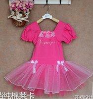 Pamuk Katı Puf Kısa Kollu Dantel Ilmek Tutu Tül Gazlı Bez Katmanlı Çocuk Kız Bale Giyim Performans Latin N1838