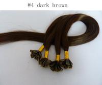 """Prezzo all'ingrosso 16 """"- 24"""" capelli umani punta piatta estensione dei capelli 0.5 g / strand 200starnds / pack 4 # medio marrone punta piatta estensioni dei capelli brasiliani"""