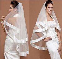 Encantador velo bridal boda mantilla ancha cinta satén borde borde 2 capas blanco 2019 vestidos de novia velos nupciales