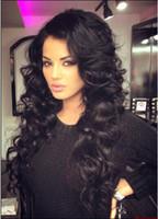 Full Lace perucas de cabelo humano para Cap médio Preto Loose Women ondulado Inteiro Cabeça perucas completas do laço Natural Color Bellahair