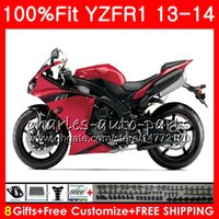 Corps d'injection pour YAMAHA rouge noir YZF 1000 YZF-R1 13 14 YZFR1 2013 2014 86NO51 YZF R 1