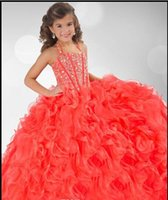 2015 Vestidos pagent da menina de coral grils vestido de bola halter organza cristal frisado vestidos menina sparkly flor vestido feitos sob encomenda