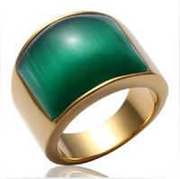 Ultra-stilvolle Männer Ringe, herrschsüchtig vergoldeten grünen Achat Schmuck Größe 8 9 10 11 12 Retro Titan Stahl Edelstein Ringe, Männer Ring