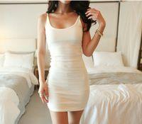 2020 Serbatoi abiti senza maniche Slim donne sexy di modo Backless di base della maglia della cinghia Abiti Vestito aderente Party Dress Solid