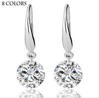Vraie Solide 925 En Argent Sterling De Mariage Engagement Boucle D'oreille 2Ct Princesse Cut Créé Diamant Bijoux En Gros Livraison Gratuite