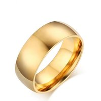 Classic Gold- color Ring Stainless Steel Cool Simple Band Eng...