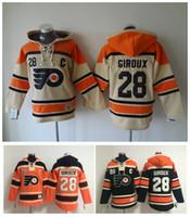 Calidad superior! Philadelphia Flyers Old Time Hockey Jerseys # 28 Claude Giroux Naranja Crema con capucha Jersey Sudaderas deportivas Chaqueta de invierno