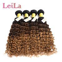 4Bundles de cheveux brésiliens de vague profonde bouclés 1B / 4/27 faisceaux de cheveux vierges de Ombre de Leilabeauthair de la vague profonde 1B / 4/27