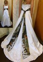 Vestidos de novia de Camo del tamaño extra grande Vestidos de boda blancos y del camuflaje con las lentejuelas de los vestidos de novia del tren de la corte dhyz 02