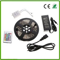 CE RoHs super bright IP65 72W Flexible 5050 Waterproof 300leds RGB DC12V led strip light 24key remote controller + power supply 5 meters pe