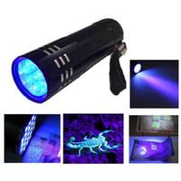 2016 venda quente portátil mini alumínio uv lanterna violeta luz 9 LED UV tocha lâmpada de luz lanterna