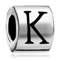 Letra en forma cilíndrica Inicial I J K L M N O P Alfabeto europeo Bead de metal Pulseras Pandora Chamilia Compatible