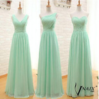 2016 Cheap Mint Long Bridesmaid Dresses Mixed Style Pleats C...