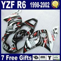 7 cadeaux gratuits + kit carénage en plastique pour YAMAHA YZF600 98-02 YZFR6 YZF-R6 1998 1999 2000 2001 2002 blanc noir ensemble carénage NONA VB90