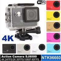 Ultra Gerçek 4 K 24FPS WIFI Eylem Kamera 30 m Su Geçirmez 2.0 inç Tam HD1080P 60fps SJ8000 Spor kamera Video kask Kamera Novatek 96660