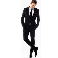 Новые мужские костюмы черные мужские костюмы Slim Fit 2 шт жениха лучший человек жених свадебный костюм на заказ (куртка + брюки)