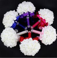 2020 Zarif Gül Yapay Gelin Çiçekleri Gelin Buket Düğün Buket Kristal Kraliyet Mavi İpek Şerit Yeni Buque de Noiva 10 Renkler