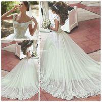 Слоновая Кость Тюль Свадебные Платья 2016 Rhinestone Аппликации Милая Свадебные Платья для Дубай Саудовская Аравия Vestido De Novia