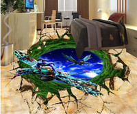 photo wall mural Cracked blue sky Avatar 3D floor painting luxury Floor wallpaper