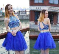 2 Pièces Bleu Royal Robes De Soirée Dos Nu Cristaux Diamants Tulle Robe De Soirée Courtes Robes De Bal robe de soirée personnalisé