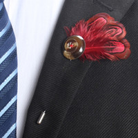 Handmade Tri- layer Feather Button Corsage Boutonniere Stick ...