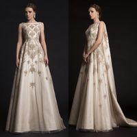 Krikor Jabotian Prom Dresses 2015 bordado Beading Lace apliques vestidos de festa à noite desgaste Árabe Watteau Train cetim Vestidos