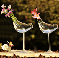 Happy birds flower vases wedding decoration crystal glass va...