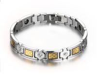 Magnetisches Bioenergie-Hämatit-Armband aus schwarzer Goldfolie mit CZ-Kristallakzent